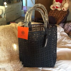 Tory Burch large tote or beach bag navy
